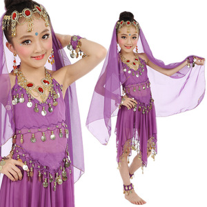2017 New Children Indian Girl Belly Dance Costume Top & Pants & Veil & Head Chain & Bracelets & Anklet 6 Color 6 pls ZH2054