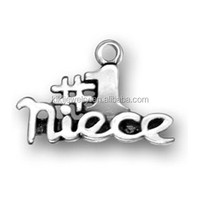 Free shipping zinc alloy silver metal number 1 niece word charms for bracelets
