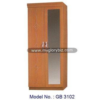 Modern Furniture Malaysia mdf 2 doors mirrored wooden almirah wardrobe cabinet modern