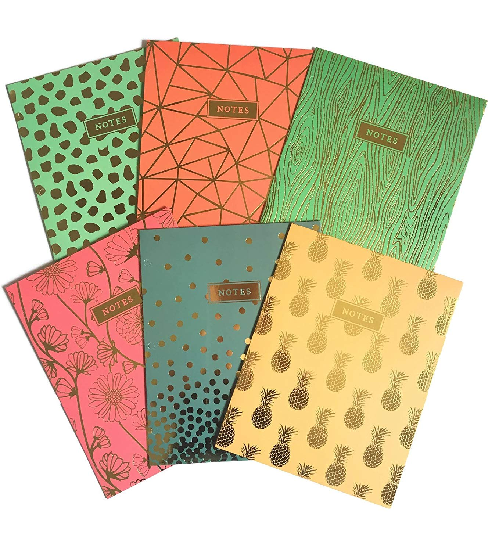 Colorful Gold Foil Design Skylar School Supply Bundle: 6 Items: Six Assorted Promarx Subject Folders