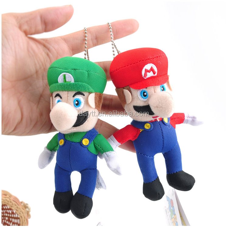 10cm Anime Game Cartoon Super mario stuffed plush dolls pendant kids collection educational toys keychain