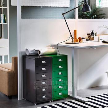 HELMER 6 Drawer Unit On Castors, Home Office Cabinet In Green /Black