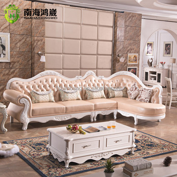 Luxury European French Baroque Rococo Clical Style Living Room Carved Wooden Leather Corner Sectional Modular Sofa