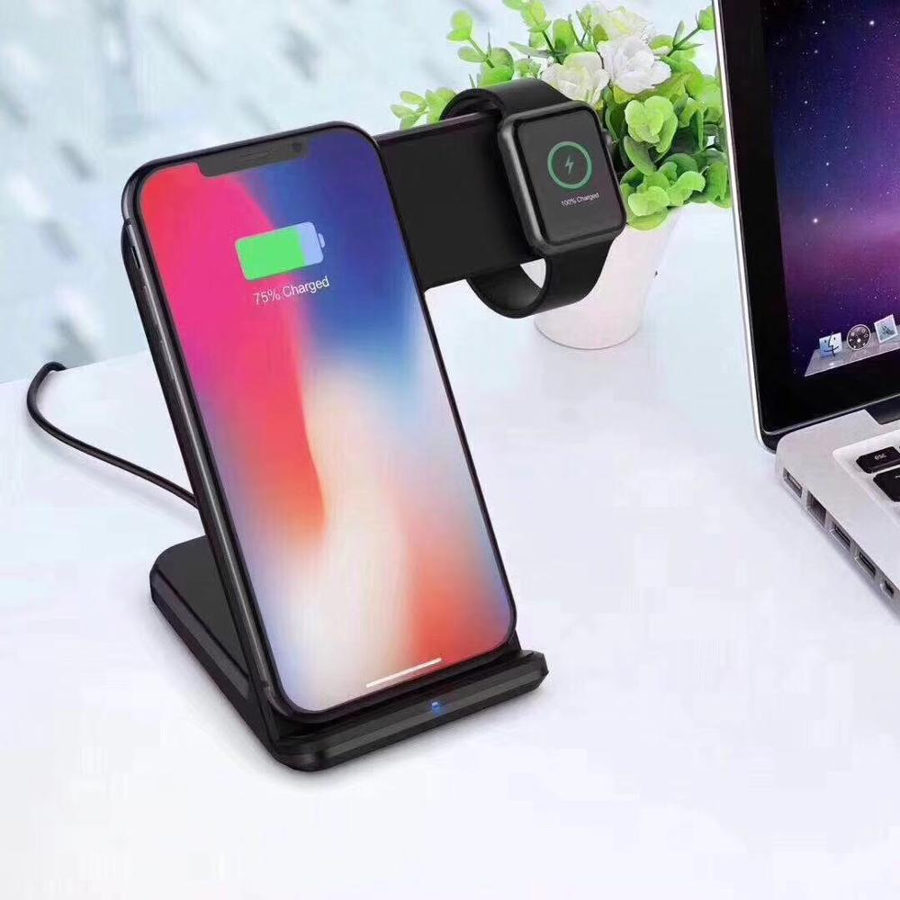Dual Wireless Charging Pad 10W multi Qi Certified Standard Fast Charger for iphone apple watch, 2 in 1 Wireless charger, White / black