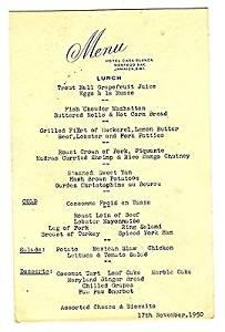Hotel Casa Blanca Lunch Menu Montego Bay Jamaica British West Indies 1950