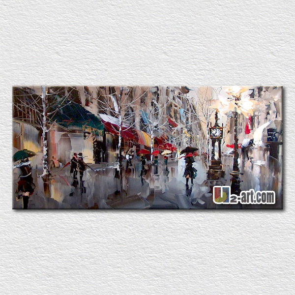 tela arte parigi di strada scena pittura a olio decorazione camera ...