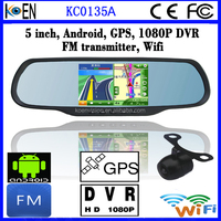 2015 1080P+720P DVR 5.0 Inch Touch Screen Interior Car Rearview Mirror Android GPS Mirror
