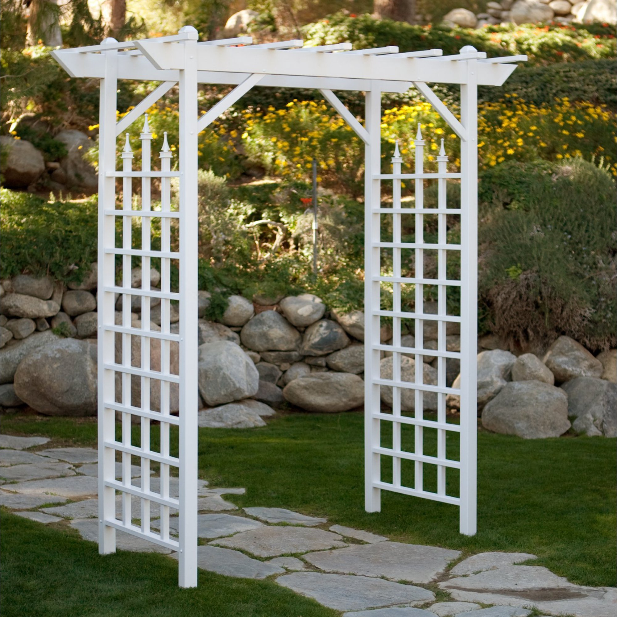 Camelot 7-ft. Vinyl Pergola Arbor, High-Grade PVC Vinyl Construction, UV-Protected, 14-inch Anchor Stakes, Durable and Maintenance-Free, Easy Assembly