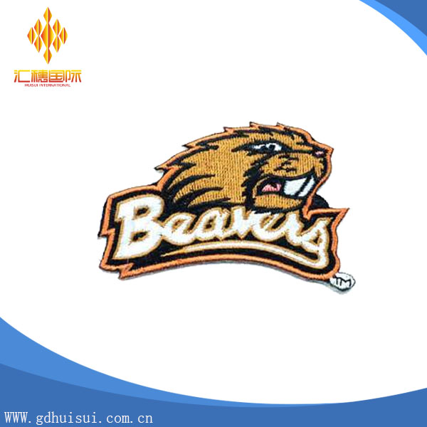 Top quality customized embroidery tiger patch with custom logo
