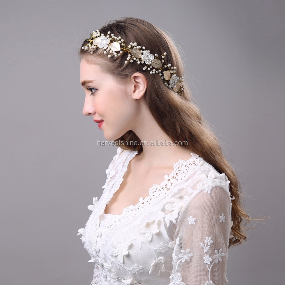 Baroque Gold Leaf Flower Crown Headband 1934f9f425a