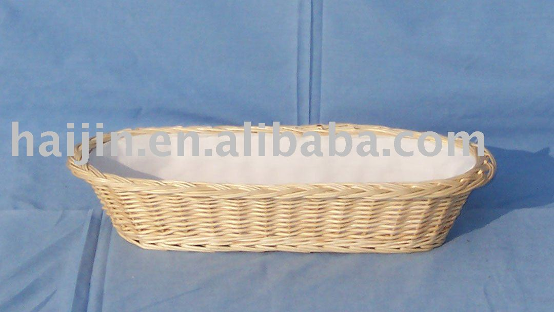 lined willow bread basket with fabric lining