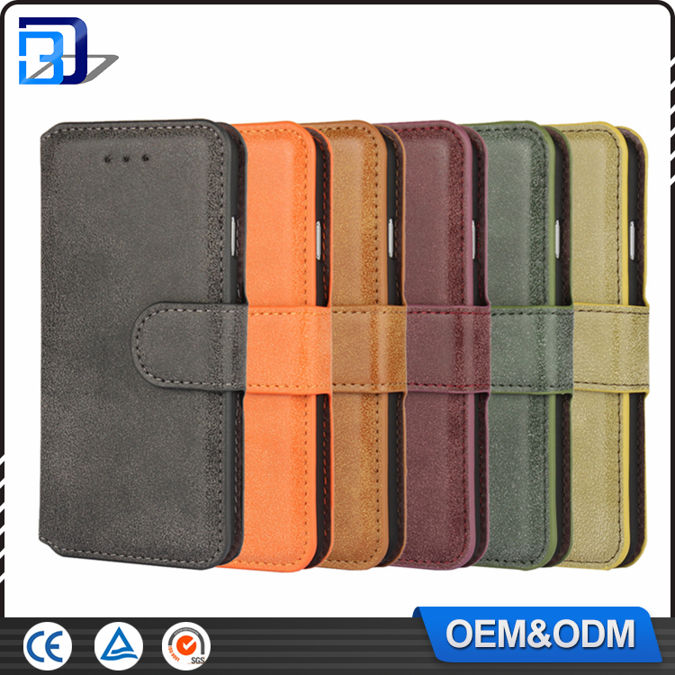 Hot Sale MOQ=10pcs Phone Accessories Matte Retro Credit Card Wallet Stand Flip Leather Cell Phone Case Cover For iPhone 7