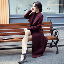 Pure color slim ladies trench coat with false belt