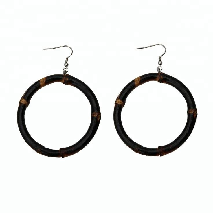 2018 Vintage Carbonize Black Natural Bamboo Personalized Round Earrings