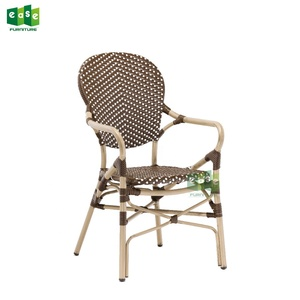 French aluminum rattan bistro look cafe chair armchair (E3011)