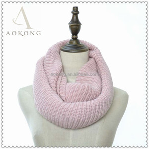 Pink women classic acrylic winter snood infinity knit scarf