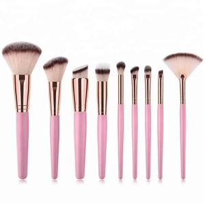 pu leather bag 10 pcs makeup brush set 2018 professional private label cosmetic