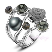cheap promotion wholesale charm pearl brown zircon stone copper white gold filled ring