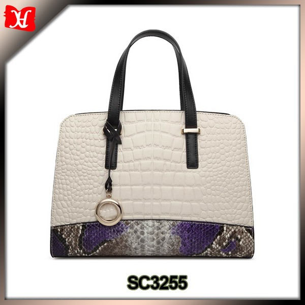 Crocodile and snake pattern 100% genuine leather ladies handbag for lady online shopping india
