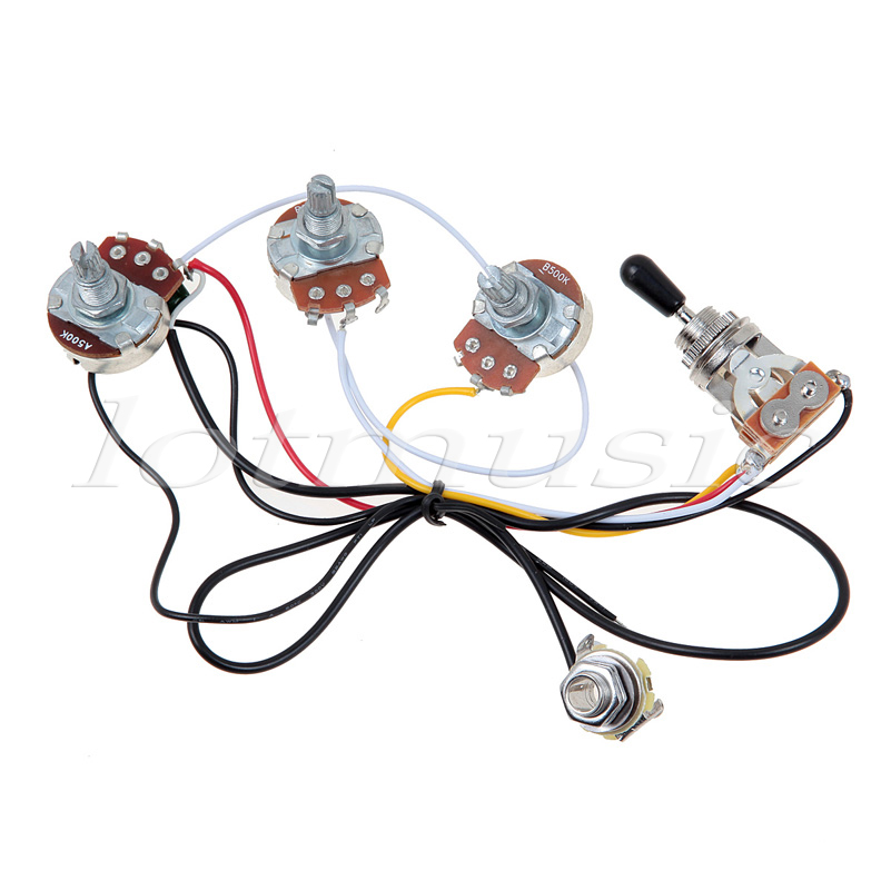 One Set of Electric Guitar Wiring Harness 3-Way 2V1T 500K Open Toggle Wiring Way Toggle Switch on