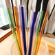 Wholesale party antique reusable borosilicate smoothie straight color glass straws