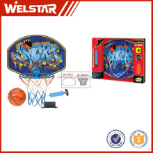 "Children indoor basketball stand plastic basketball back with 12cm rubber basketball and 6"" inflator"