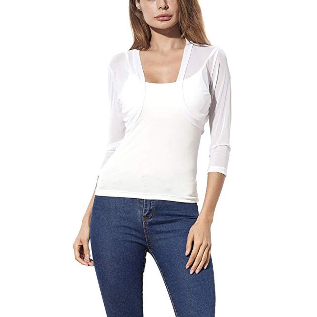 bc121c925ce907 Get Quotations · oboss Women Shrugs Summer Floral Lace/Sheer Chiffon Shrug  Short Sleeve Open Front Bolero Cardigan