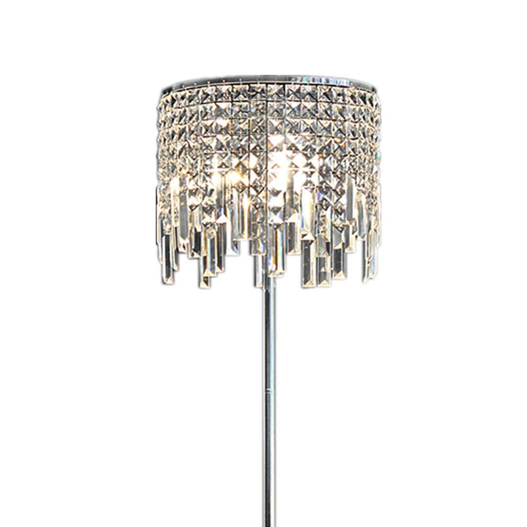 ALUS-floor lamp European Luxurious Living Room Bedroom Study Romantic Transparent Crystal Pendant Bedside Iron Body Crystal Lamp Cover Floor Lamp