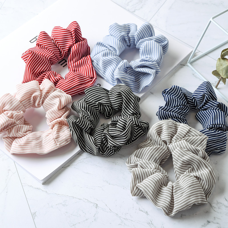 Fashion 6 Colors Fabrics Tassel  Bowknot Elastic Scrunchies Hair Rings For Women Girls