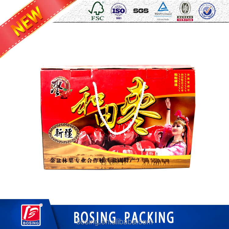 Wholesale High Quality Custom Red <strong>Dates</strong> Corrugated Cardboard Box