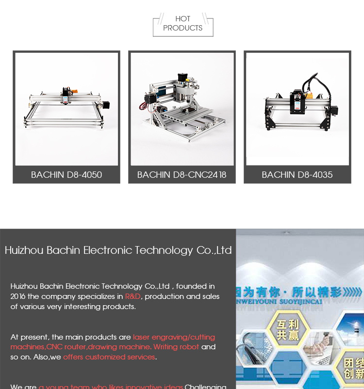 BACHINMAKER new product cnc 2418 wood carving machine 3axis laser mini  router engraver for wood pcb acrylic