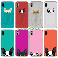 Cartoon Pattern Animal Pocket Cat Dog Soft Tpu case for iPhone X