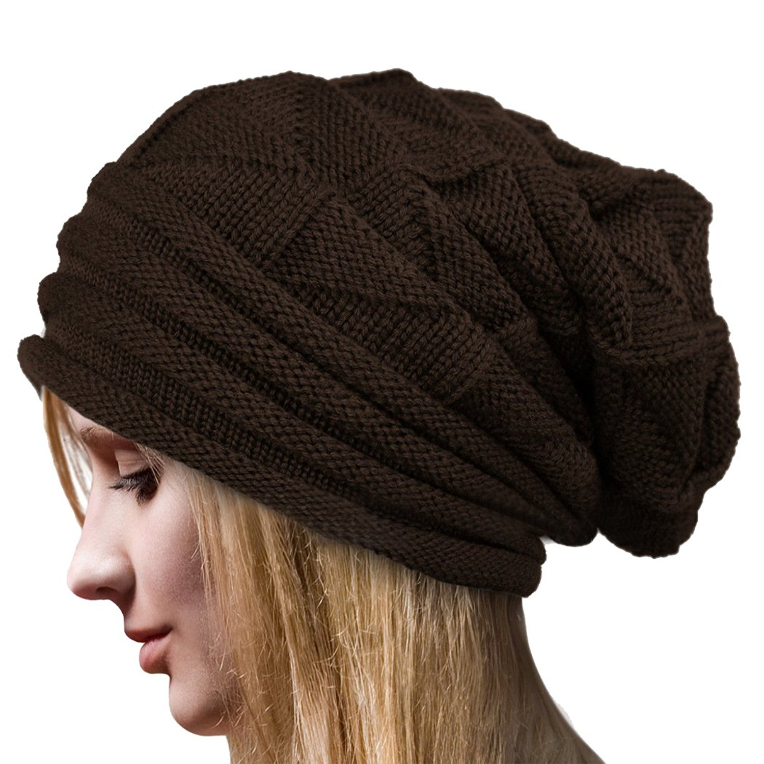 ffb0f48f521 Get Quotations · Molly Women s Winter Beanie Knit Crochet Ski Hat Oversized  Cap Hat Warm Coffee