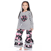 Fall Kids Polk Dot Top With Floral Heart And Ruffled Pant Sets, Wholesale Boutique Clothing China