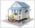 Free Shipping DIY large villa Wooden Doll House Miniature coast of happiness Manual assembled model Birthday