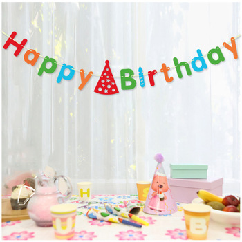 Party Decoration Birthday Items Hanging Happy Paper Banner Garland