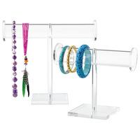 2 Tiers transparent Acrylic T-Bar Bracelet Necklace Jewelry Displays Stands