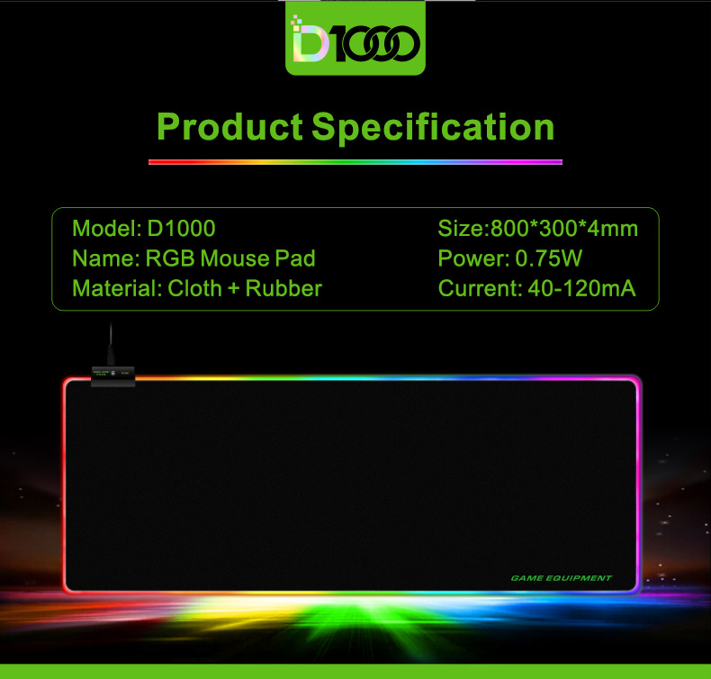 RGB Gaming Muismat Grote (80X30X0.4 cm) Grote LED Mousepad voor Computers