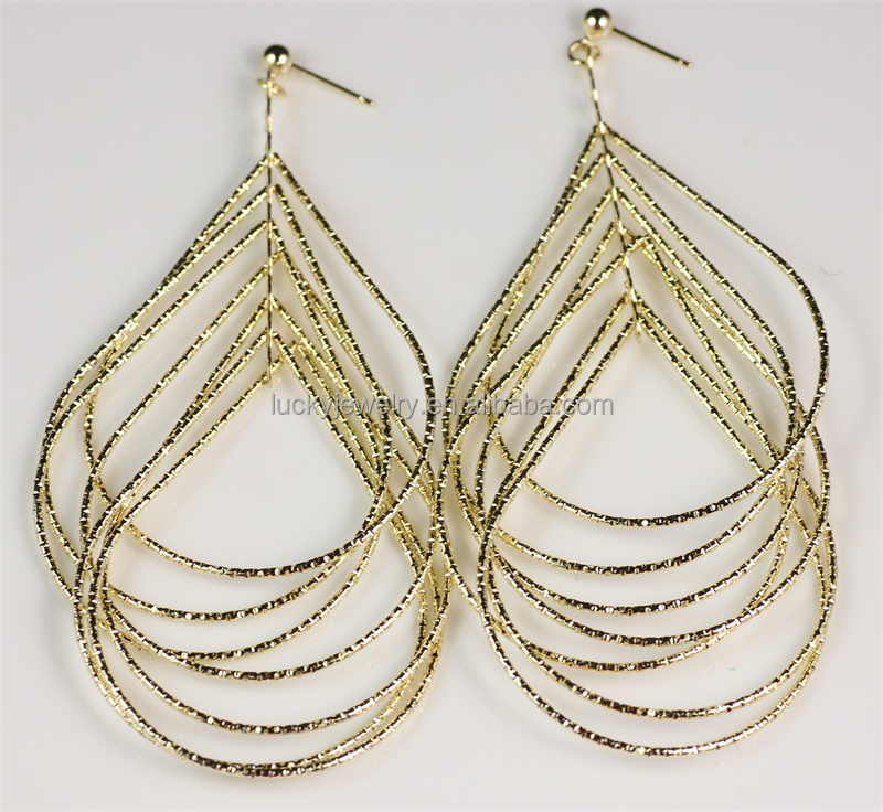Carved Many Hoop Gold Design Earrings Make Earring