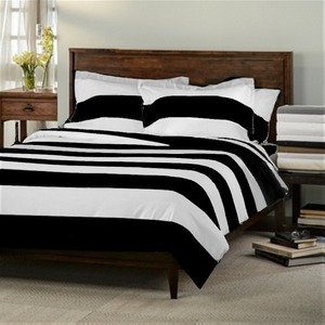 Top Rated 4pcs 100% Silk White and Black Stripe Bedding
