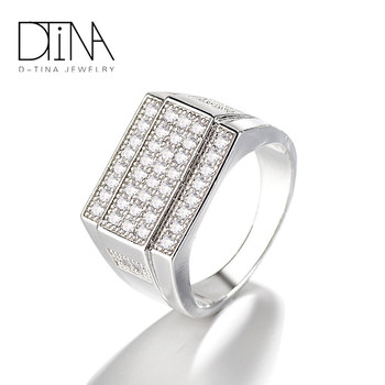 DTINA Fashion Peruvian CZ Pave Gothic 18k Gold Wedding Rings For Men