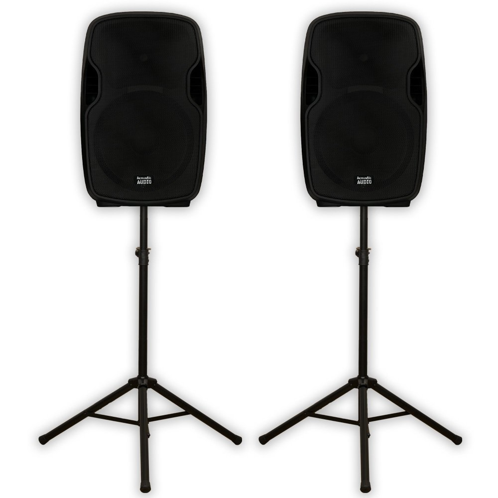 "Acoustic Audio AA15UB Powered 15"" Bluetooth Speaker Pair 2000 Watts 2 Way USB MP3 & Stands AA15UB-PK2"