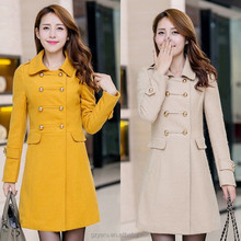 Women long trench coats korean fashion yellow women winter coats