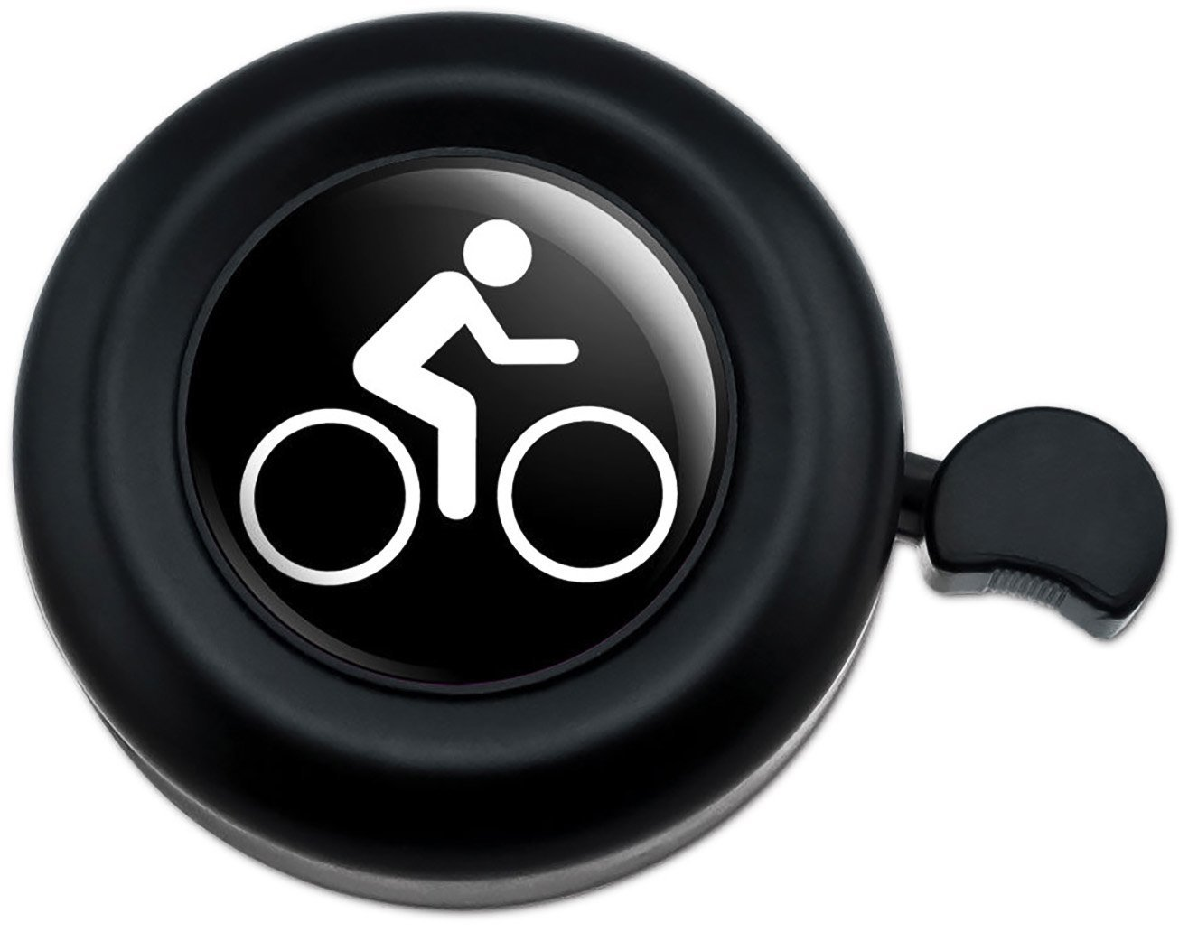 Cool and Custom {Fully Adjustable to Fit Most Bikes} Bicycle Handlebar Bell Made of Hard Metal Biking Cycling Symbol Design {Black and White Colors}