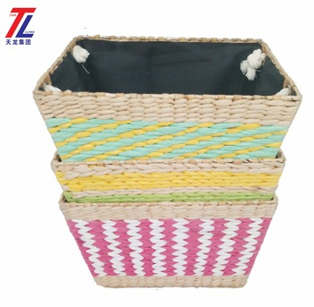 Merveilleux Cheap Eco Friendly Straw Woven Colored Storage Basket Fabric Covering  Laundry Basket With Carry Handle