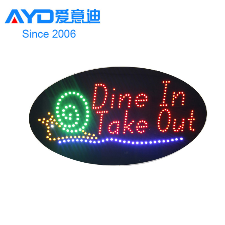 Hot Cake Indoor LED Display LED Flasher Sign Dine in Take out Shop LED Advertising Screen Factory Supplier
