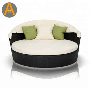 Outdoor furniture aluminum frame cushion round bed outdoor round rattan daybed