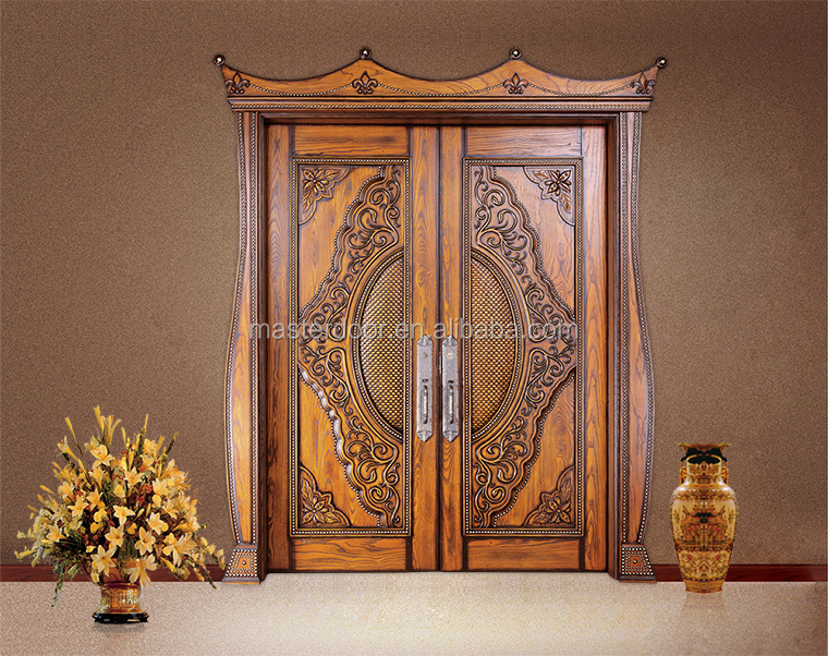 Luxury Solid Wood Front Double Door Design For Temple