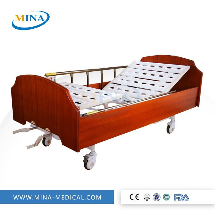 MINA-MB2101-B-C Cheapest Two crank portable manual hospital bed with ABS Bed board hospital bed