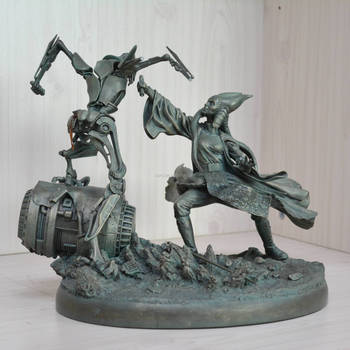 Decorative fighting statue creative 3d art resin hand painting antique effect